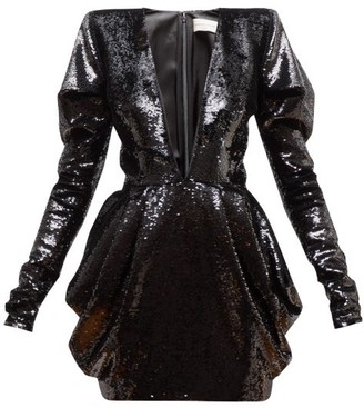 Alexandre Vauthier Plunge-neck Draped Two-way Sequin Mini Dress - Black