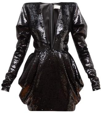 Alexandre Vauthier Plunge-neck Draped Two-way Sequin Mini Dress - Womens - Black