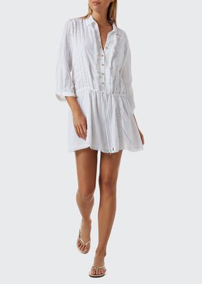 Melissa Odabash Scarlett Collared Button-Front Coverup Mini Dress