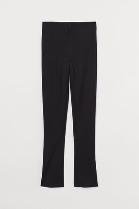 H&M Slit-detail Leggings - Black