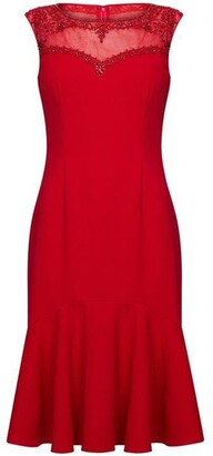 Adrianna Papell Crepe Bead Dress