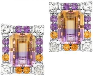 Sterling 5.00 cttw Multi-Gemstone Emerald-Cut Earrings
