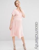 Asos Midi Dress With Flutter Sleeve