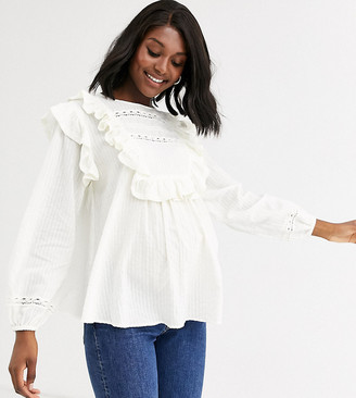 Asos DESIGN Maternity long sleeve top with ruffle and lace insert-Cream