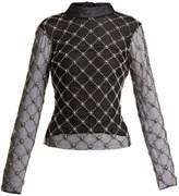 Osman Verena embellished high-neck tulle top