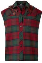 Miu Miu Leather-trimmed Tartan Wool-blend Felt Gilet - Red