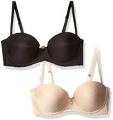 Lily of France Women's 2 Pack Strapless Push Up Convertible Bra 2179407