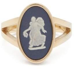 Wedgwood Ferian Ceramic Nymph & Gold Signet Ring - Womens - Navy