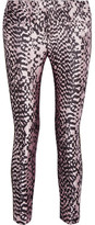 Haider Ackermann Grosgrain-trimmed Silk-blend Jacquard And Leather Skinny Pants - Leopard print