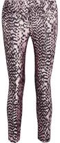 Haider Ackermann Grosgrain-trimmed silk-blend jacquard and leather skinny pants