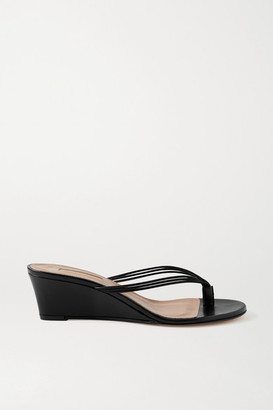 Aquazzura Pedi 45 Leather Wedge Sandals - Black