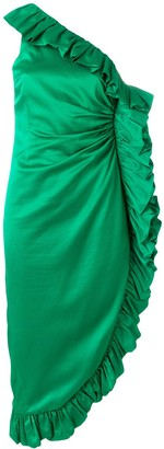 ATTICO Frill-Trim Asymmetric Midi Dress