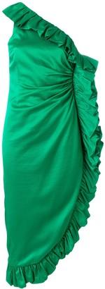 Frill-Trim Asymmetric Midi Dress