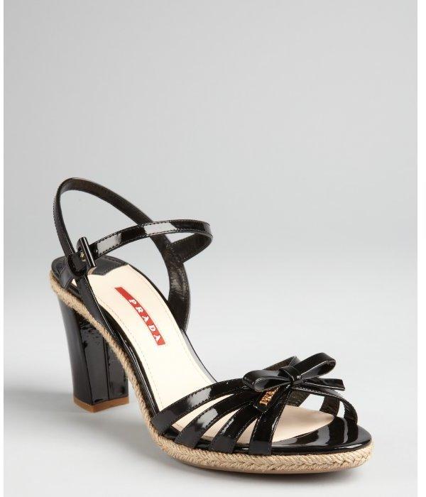 Prada Sport black patent leather bow sandals