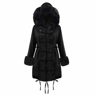 VICENT Womens Coat Faux Fur Collar Warm Thicken Winter Long Sleeve Parka Jackets Hooded Fleece Lined Overcoat Cardigan Outerwaer with Hood Side Pockets Outercoat Tops UK Size Black