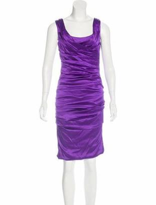 Dolce & Gabbana Silk Ruched Dress Violet