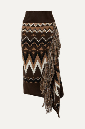 Sacai Fringed Fair Isle Wool Midi Skirt - Brown