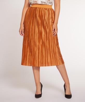 Devoted Women's Casual Skirts 17030-GOLD - Gold Mine Pleated Midi Skirt - Women