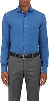 Barneys New York Men's Cotton Flannel Shirt-BLUE