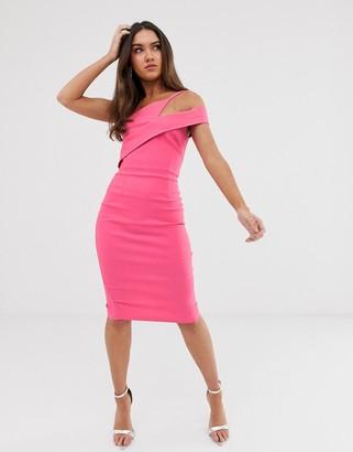 Vesper midi stretch pencil dress in fuschia-Pink