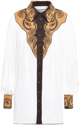 Zimmermann Embellished Ramie-canvas Shirt