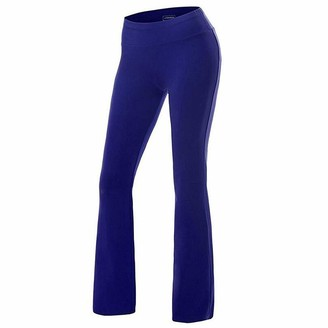 FYMNSI Women Slim Fit Boot Cut Yoga Pants Tummy Control Workout Wide Leg Flare Trousers Plain Color High Waist Fitness Gym Bootleg Stretch Comfort Long Leggings Casual Bottoms Royal Blue L