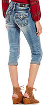 Miss Me Destructed Thick Stitch Capri Jeans