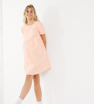 ASOS DESIGN Maternity soft denim smock dress in coral