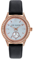 Ted Baker Ladies Crystallized Rose Gold Tone and Leather Watch