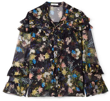 Erdem Margery Ruffled Floral-print Silk-voile Blouse - Black