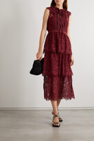 Thumbnail for your product : Self-Portrait Tiered Cotton-blend Corded Lace And Crepe De Chine Midi Dress - Burgundy