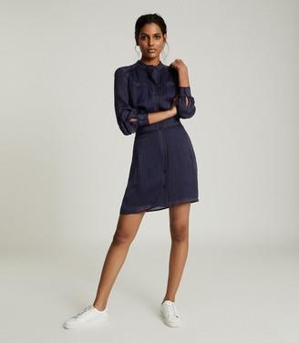 Reiss Sophia - Belted Shirt Dress in Navy