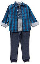 Nautica Little Boys 2T-4T Plaid Woven Shirt, Knit Tee & Woven Jogger Pants Set