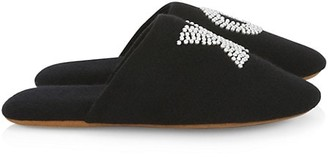 Minnie Rose Pearl XO Embellished Slippers