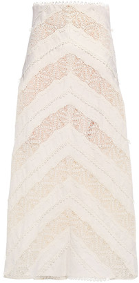 Zimmermann Appliqued Linen Midi Skirt