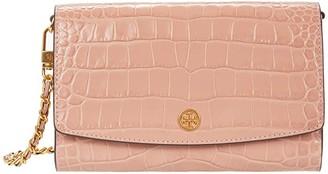 Tory Burch Robinson Embossed Chain Wallet (Jamaica Sand) Handbags