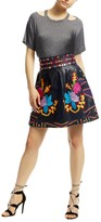 Nicole Miller Embroidered Leather Skirt
