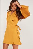 Missguided Silky Kimono Sleeve Swing Dress Yellow