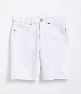 LOFT Frayed Skinny Bermuda Shorts in White
