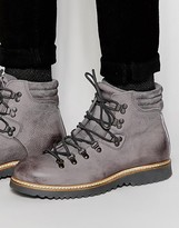 Asos Lace Up Boots In Grey Leather With Chunky Sole