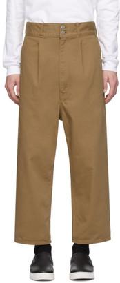 Comme des Garcons Homme Beige Cotton Drill Garment-Dyed Trousers