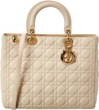 Christian Dior Cream Leather Large Lady Nm