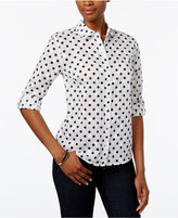 Karen Scott Petite Dot-Print Shirt, Only at Macy's