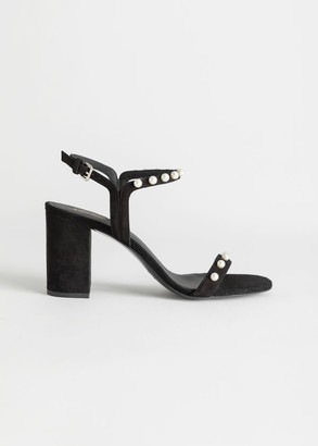 And other stories Pearl Studded Suede Heeled Sandals