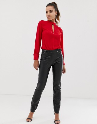 Morgan pu pants in black