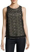 Joie Bria Heart Lace Sleeveless Top, Black