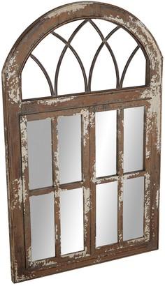 Uma Farmhouse Iron & Wood Windowpane Wall Mirror