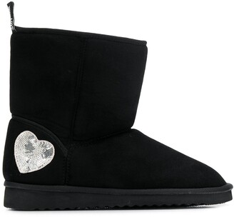 Love Moschino silver heart detail ugg boots