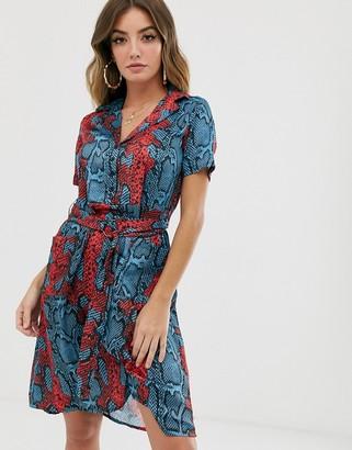 NA-KD Na Kd satin short sleeve dress in snake print