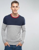 Tommy Hilfiger Jumper With Colour Block In Navy